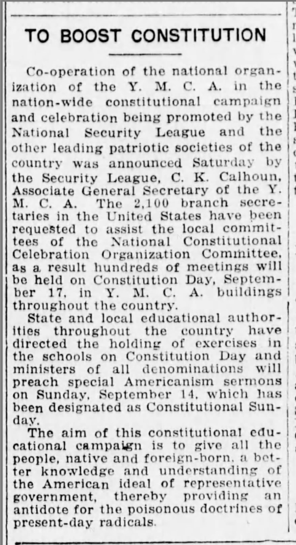 CALHOUN CHARLES K 1919 Brooklyn Eagle Constitution Day