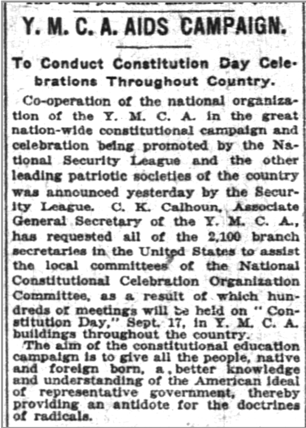 CALHOUN CHARLES K 1919 NY Times Constitution Day