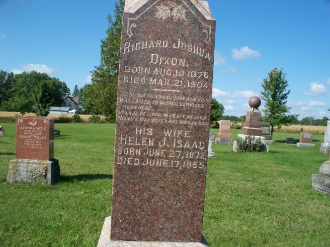 DIXON RICHARD JOSHUA ISAAC HELEN JANE tombstone